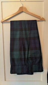 Mens Black Watch Tartan Plaid Trews Trousers 30R Kilt Society Good Condition