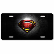 Black Superman License Plate Tag Aluminum Baked on Finish Cool New Metropolis