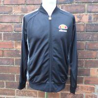 Ellesse Retro Look Tracksuit Top Track Jacket Black w Logo Men's L Large