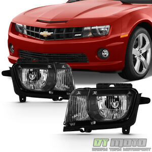 Black 2010 2011 2012 2013 Chevy Camaro Halogen Headlights Headlamps Left+Right