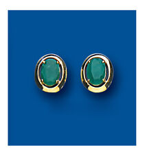 Emerald Earrings Emerald Studs Oval Emerald Stud Yellow Gold emerald earrings