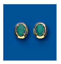 9K Yellow Gold Real Emerald Oval Smooth Stud Earrings - British Made Hallmarked
