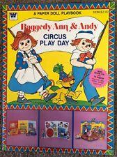 Vtg Raggedy Ann & Andy Circus Play Day Paper Dolls Book - Uncut - Whitman - 1980
