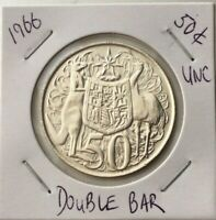 🇦🇺1966 Australian Round Fifty 50 Cent Double Bar 80% Silver🔥SCARCE UNC,📮FREE