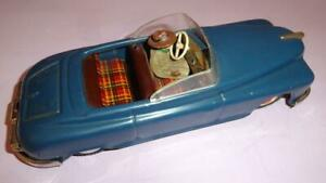 VTG ARNOLD CANDIDAT GERMANY US ZONE 1960s WIND-UP METAL CABRIO CAR w DRIVER 25cm