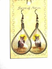 """2 1/2"""" Dangle Earrings Spirit of Nature OWL Hand-Crafted Native Design Threads"""