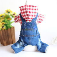 Plaid Winter Dog Clothes Jumpsuit Thick Small Puppy Jacket Jean Pet Hoodie Coat