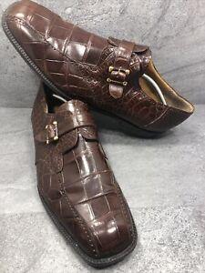 Avventura Rare Vintage Mens Genuine Alligator Monk Strap Shoes, Size 16m