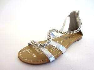 Spot On F0R698 Ladies Silver Diamante Sandal (R11A)