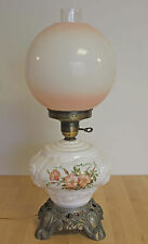 LARGE Vintage Rose Pink Gone With The Wind Hurricane Banquet Parlor Table Lamp