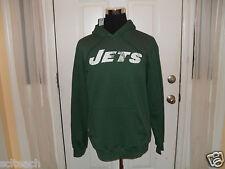 New Large New York Jets Green Reebok Hooded Sweatshirt {Distressed Style} Hoodie