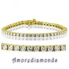 7 1/2 ct F VS2 round cut natural diamond 4 prong tennis bracelet 18k yellow gold