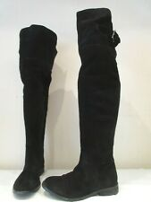 ASOS BLACK SUEDE OVER KNEE PULL ON BOOTS UK 5 EU 38 (3330)