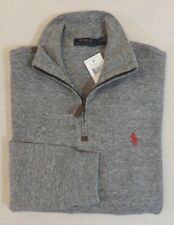 Polo Ralph Lauren 1/2 Half Zip Leather French Ribbed Pony Mockneck Sweater Ski S