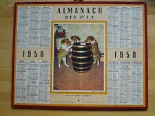 1958 ALMANACH DES POSTES CALENDRIER PTT CHIOTS CHIEN REPAS