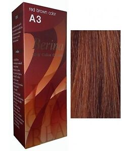 BERINA PERMANENT A3 COLOR HAIR DYE CREAM RED BROWN COLOR PROFESSIONAL USE