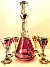 Gorgeous Czech Bohemian Art Glass 7-Pc Cabochon Decanter Set Attr To Moser 1940