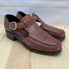 Cole Haan Shoes 9 M Brown Leather T-Strap Oxfords Open Sides Buckle Round Toe
