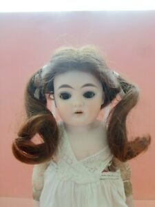 VINTAGE LIGHT BROWN PONY  TAILS TAGGED HUMAN HAIR BISQUE DOLL WIG