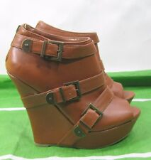 "Tan 5.5"" High Wedge Heel 1.5"" Platform Open Toe Sexy Ankle Boot Size 6.5"