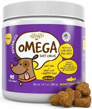 NTSUTSI Soft Omega 3 6 9 Dog Allergy Chews for Dogs - Natural Salmon Oil 90ct