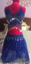 Belly Dancing with coins Outfit 2 piece Party Beautiful Royal Blue Bling Sheer