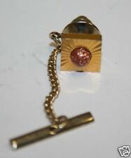 Wow Vintage Mid Century Modern Golden Square Sparkly Men's Tie Tack Clasp Rare
