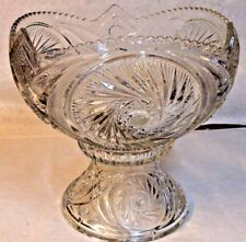 Beautiful ABP American Brilliant Cut Glass Punch Bowl & Stand Excellent Cond