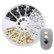 3mm Square Rivet Nail Studs Flat Bottom Gold Silver Black Manicure 3D Nail Tips