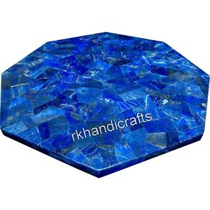 12 Inches Marble Inlay End Table Top Lapis Lazuli Coffee Table with Random Work