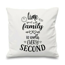 Quote Cushion Cover Cotton Throw Pillow Case Gift Time Spent With Family