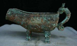 """12.4"""" Antique China Bronze Ware Dynasty Dragon Beast Handle Drinking Vessel"""