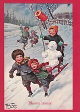 1117F XMAS VTG PC KIDS GIVING SNOWMAN A RIDE IN SLED A/S ARTHUR THIELE T. S. N.