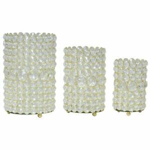 Glass Crystal Cylinder Votive Candle Holder Gold Finish Set of 3