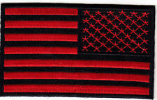 "AMERICAN FLAG,RED & BLACK (REVERSED)((2 3/4"" X 1 3/4"") BIKER-VET-Iron On Patch"