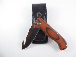 Tassie Tiger Knives Folding Gut Hook Hunting knife + Leather Sheath skinning