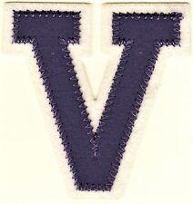 """2 3/8"""" x 2 1/2"""" Lavender White Block Letterman's Letter V Felt Patch"""