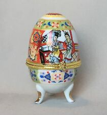 "Japanese Geisha Design Hinged Egg Jewelry Trinket Box Hand Painted 4"" Tall."