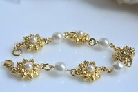 Pearl and Gold Tone Vintage Beaded Chain Link Bracelet