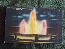 Vintage Postcard Joel Hurt Park Fountain In Operation At Night, Atlanta, Ga.
