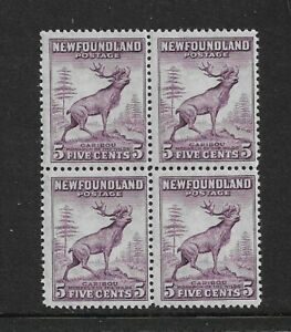 1932 Newfoundland - Caribou  - Block of Four - Violet Mint and Unhinged.