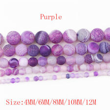 Colorful Frosted Fire Crackle Agate Gemstones Round Beads  4mm 6mm 8mm 10mm 12mm