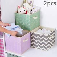2X Foldable Canvas Storage Collapsible Folding Box Fabric Cube Cloth Basket Bag