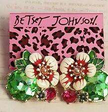 Hot!Elegant Drop Dangle Rhinestone Lovely colored enamel  flowers Earring BJ