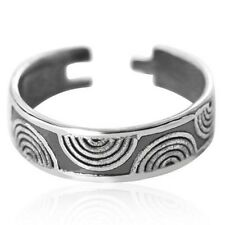 midi or pinkie little finger Curved Ripple 925 Sterling Silver Open Ring for toe