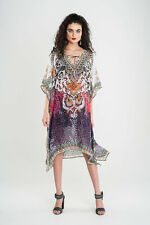 KAFTAN EMBELLISHED SOFT SILKY GEORGETTE SHINY CRYSTAL LACE UP NECK KNEE LENGTH