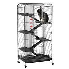 6 Levels Large Durable Metal Rolling Pet Cage Ferrets Rabbits Rats Squirrels Blk