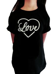 "Girls Rhinestone T-Shirt "" Love Heart in AB "" in All Sizes"