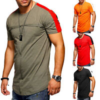Men Splicing Gym T-shirts Summer Slim Fitted Short Sleeve Muscle Tee Tops Blouse