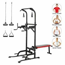 Power Tower Dip Station Chin Up Bar Pull Push Fitness Core for Home Gym W/Bench